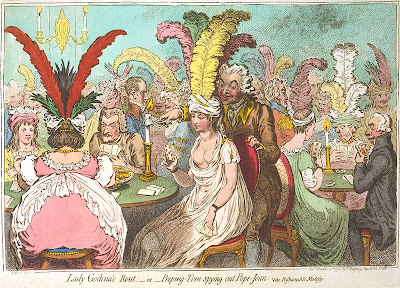 James Gillray - Lady Godina's Rout;—or—Peeping-Tom spying out Pope-Joan