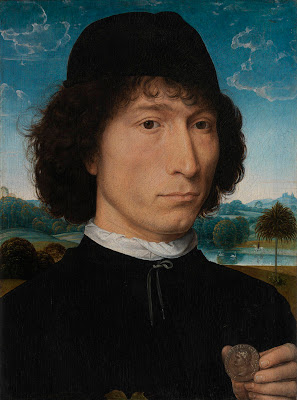 Hans Memling -  A Man holding a Coin of Emperor Nero, ca. 1473-74
