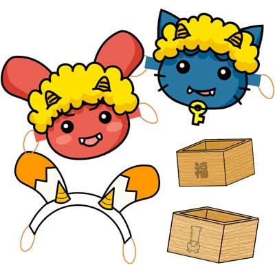 Oni Masks & Mamemaki Box Papercraft