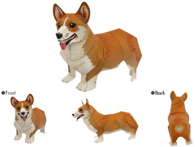 Pembroke Welsh Corgi Dog Papercraft