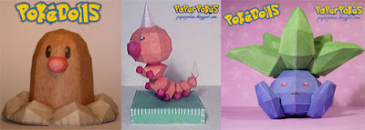 Oddish Diglett Weedle Pokemon Papercraft