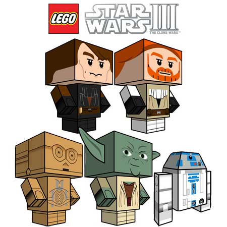 Papercraft lego star wars 3 cubee clone wars