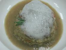 arroz caldoso de secreteo iberico con aire de parmesano
