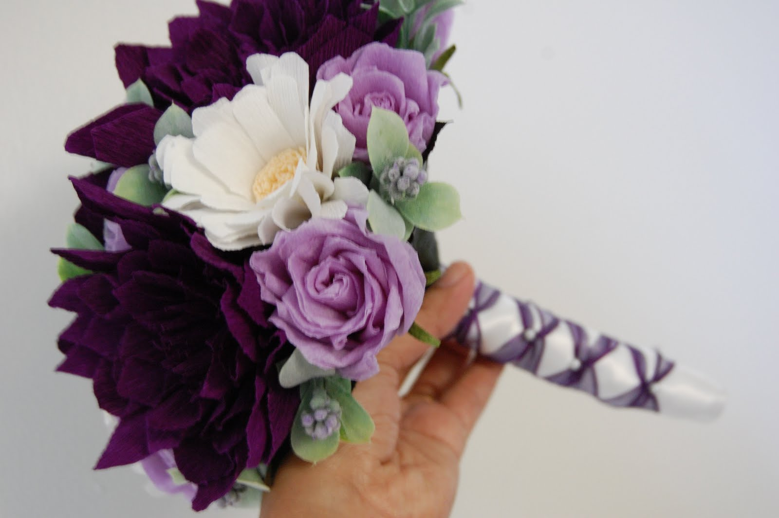 Purple paper flower bouquet ukrandiffusion purple dahlia bouquet petite handmade paper flowers by maria noble izmirmasajfo
