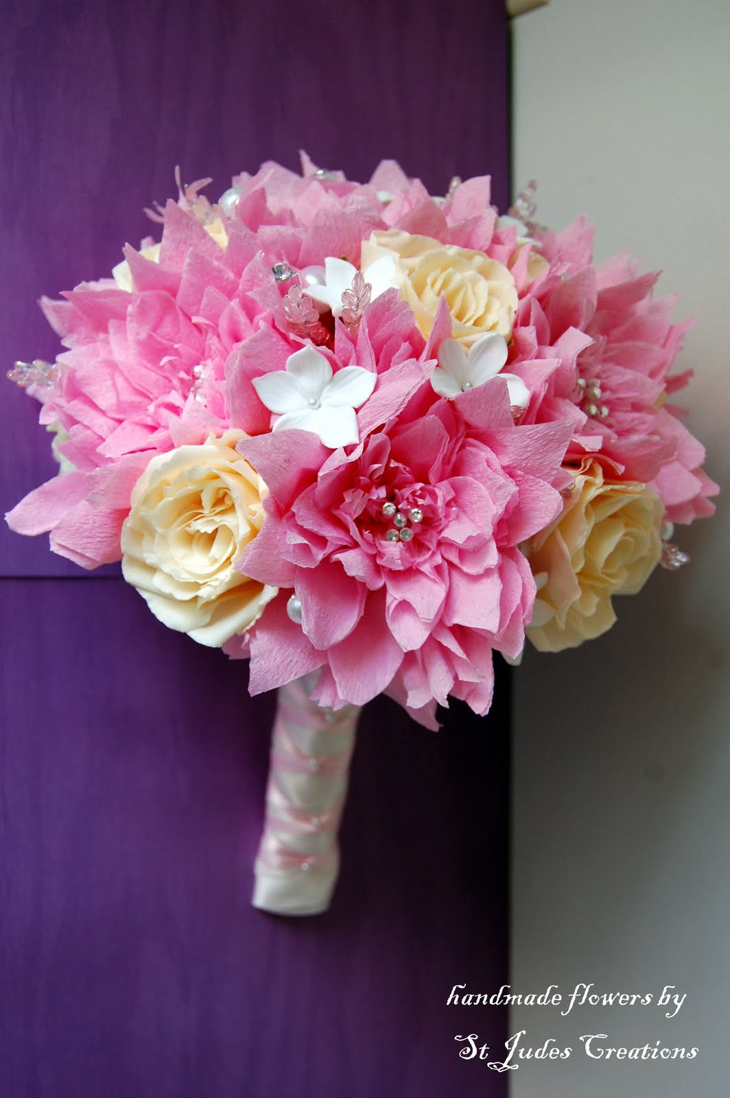Pink Dahlia Paper Flower Wedding Bouquet Handmade Paper Flowers By