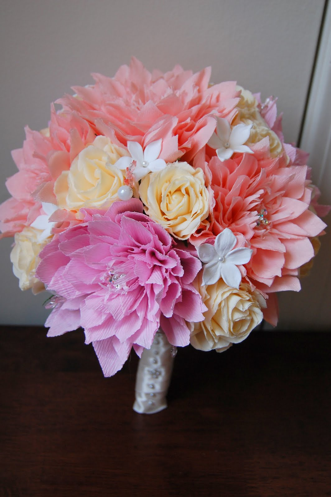 Pink dahlia paper flower wedding bouquet paper flowers just when i have bouquet to photograph new england gives me the gloomiest day to photograph it i guess i need to figure out a way to get some great lights izmirmasajfo