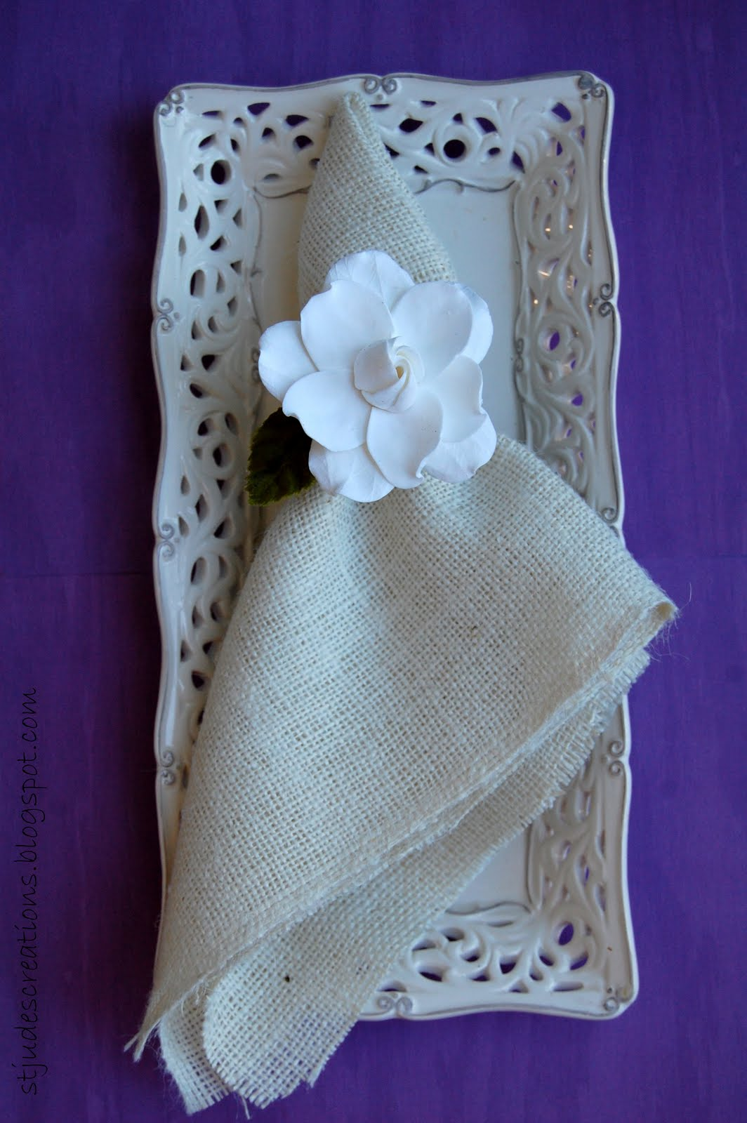 Napkin Ring Gardenias Handmade Paper Flowers By Maria Noble