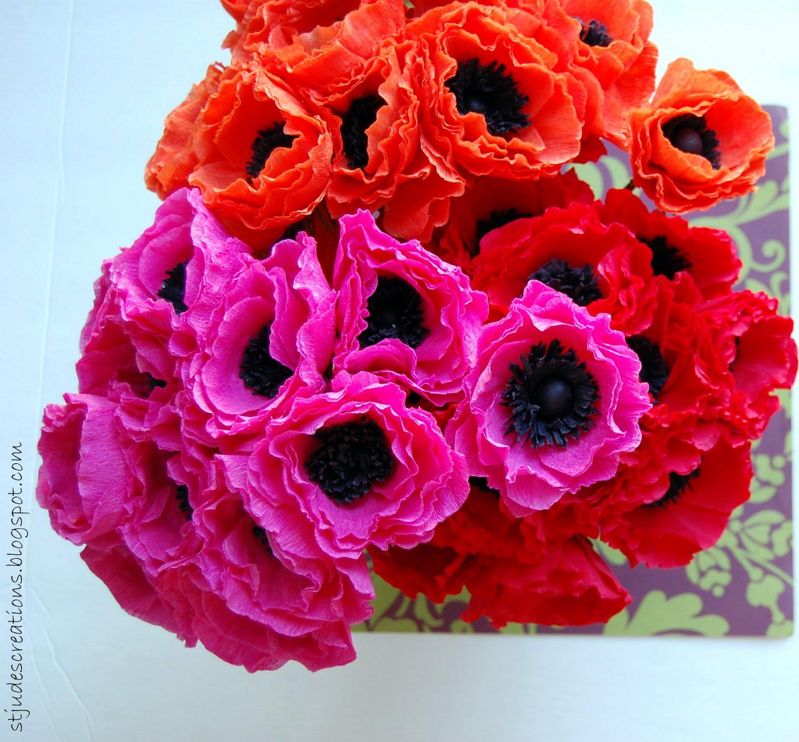Hot Pinkred Orange Anemones Handmade Paper Flowers By Maria Noble