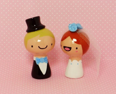 Bride and Groom Wedding Cake Toppers by Jamie Ferraioli