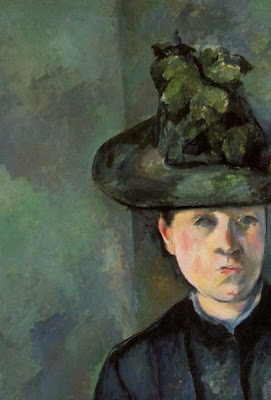 Cézanne: Portrait of a Woman in Green Hat (Mme Cézanne) (1894-95) detail