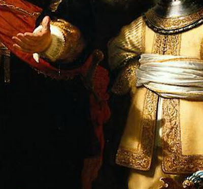 Rembrandt Nightwatch detail hand shadow