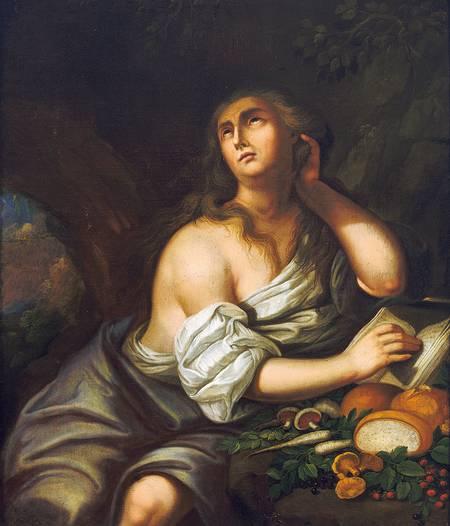 Genevieve Genovefa Genoveva von Brabant in einer Höhle mit Früchten des Waldes