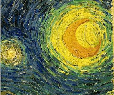 Van Gogh. Starry Night moon detail
