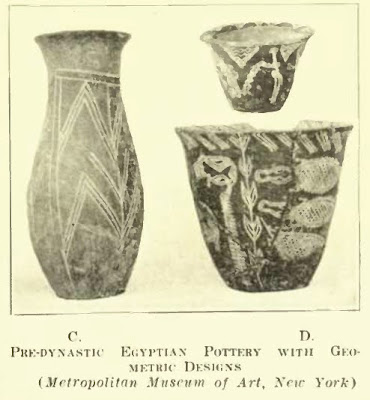 Egyptian pottery with geometrical designs. Worringer. Form Problems of the Gothic. plate 3c