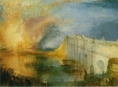 The Burning of the Houses of Parliament, with Westminster Bridge 1834