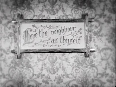 Buster Keaton. Our Hospitality. second love thy neighbor sign