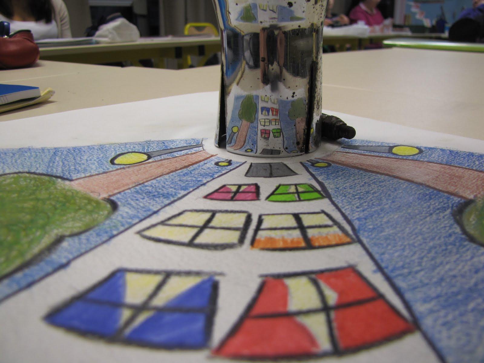Travaux d 39 arts plastiques en milieu scolaire anamorphose for Miroir spherique