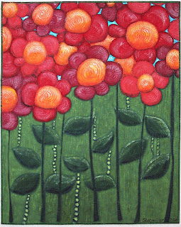 painted daisies art quilt