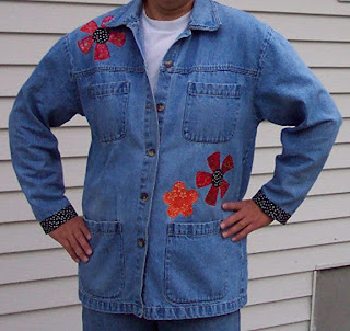 painted appliquéd denim jacket