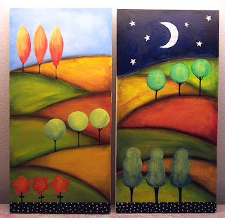 landscape trees art paint acrylic canvas