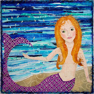 water themed quilt for Twelve by Twelve art quilt group