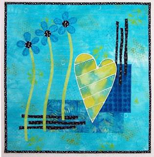 fabric fiber art quilt collage