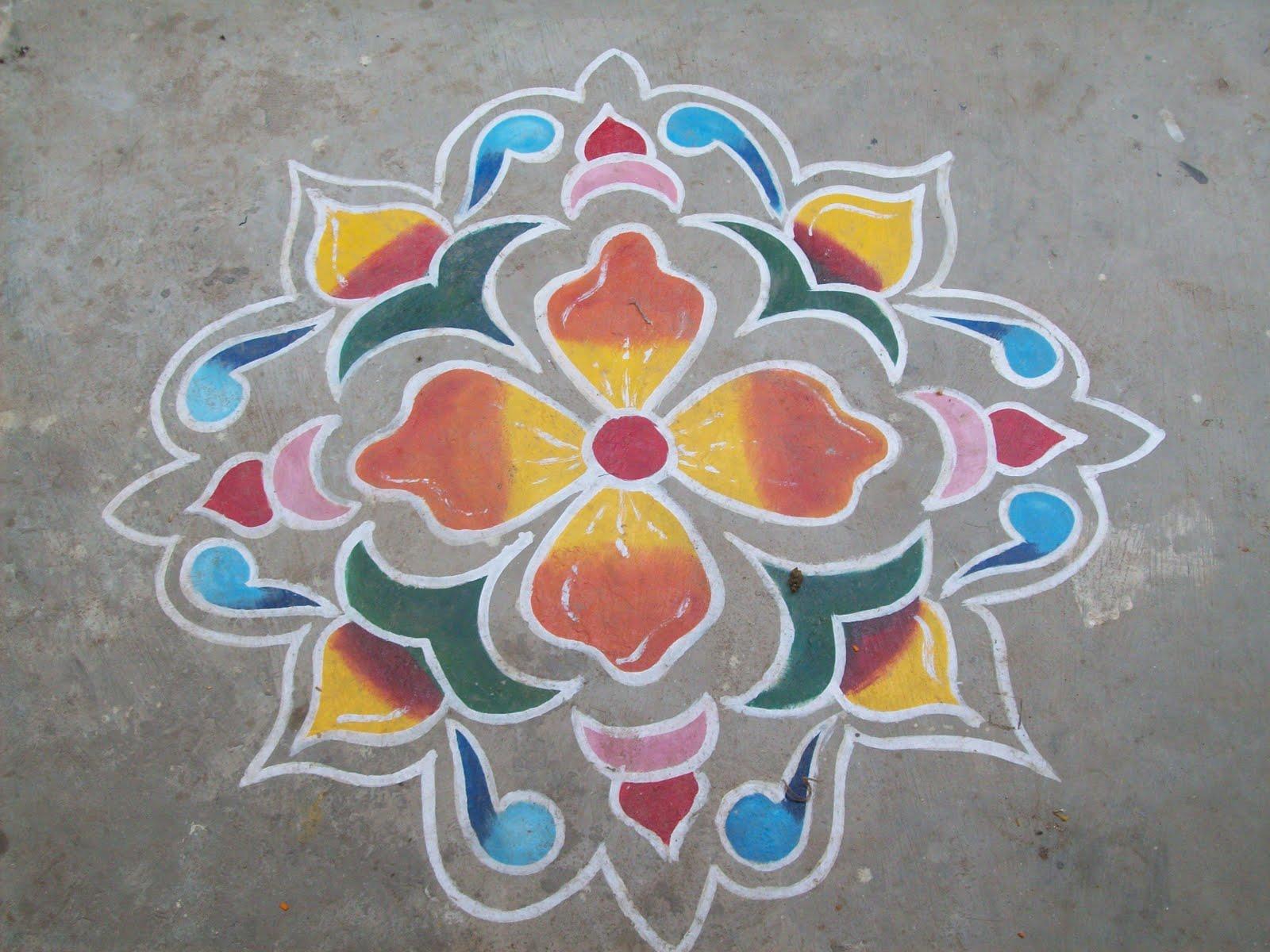 My place rangoli design 3 for Door rangoli design images