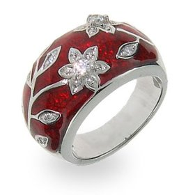 Beautiful Ruby Red Enamel Ring with Vintage CZ Flower Design
