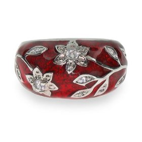 Gorgeous Ruby Red Enamel Ring with Vintage CZ Flower Design