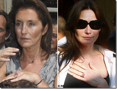 diamond ring carla bruni and cecilla president Nicolas Sarkozy wife