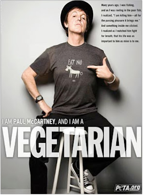 Paul McCartney, I am a vegitarian, Peta ad