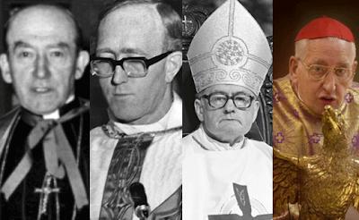 Serial paedophile enabling Archbishops: John Charles McQuaid 1940 - 1972, Dermot Ryan 1972 - 1984, Kevin McNamara, 1985 - 1987, Desmond Connell 1988 - 2004.