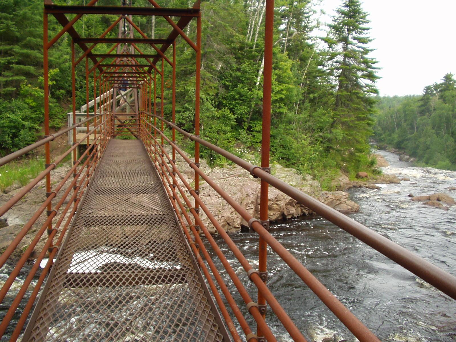 bridge across baptism river, tettegouche state park