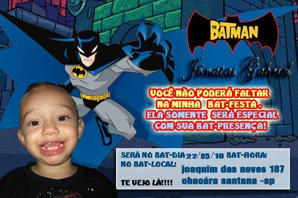 Convite De Aniversario   Batman