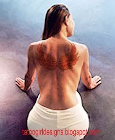 sexy back woman wings tattoo