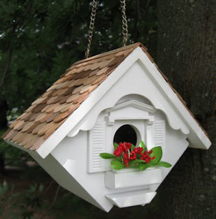 White Decorative Little Wren Bird House