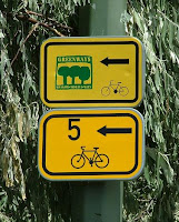 Signs marking the Greenways cycle trail between Vienna, Austria and Krakow, Poland