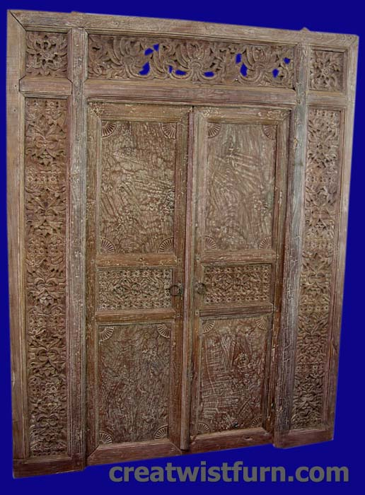 Code : ANTIQUE TEAK DOOR 09. Size : 230 cm X 180 cm Wide Prices : $ 3,000.  Description : Madura carved teak doors - original antique - Architectural Panels Carved Teak