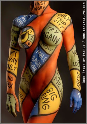 Design Letters, Numbers And Combination Of Colors In Painting Body Art
