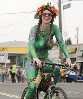 Body Paint Art Festival And Riding A Bike