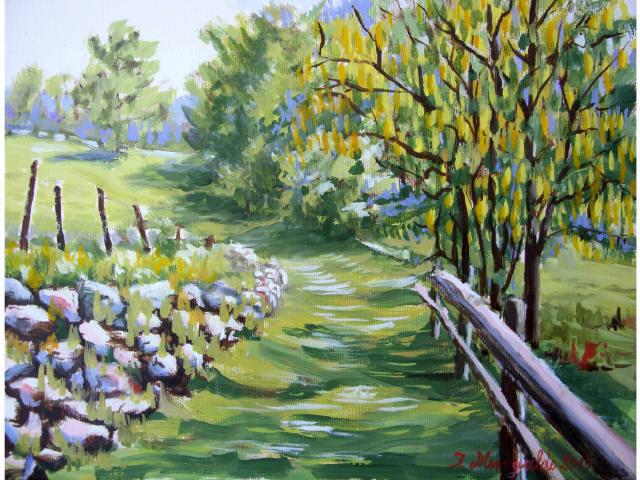 Ilario menegaldo sentiero con alberi dai fiori gialli for Quadri di fiori ad olio