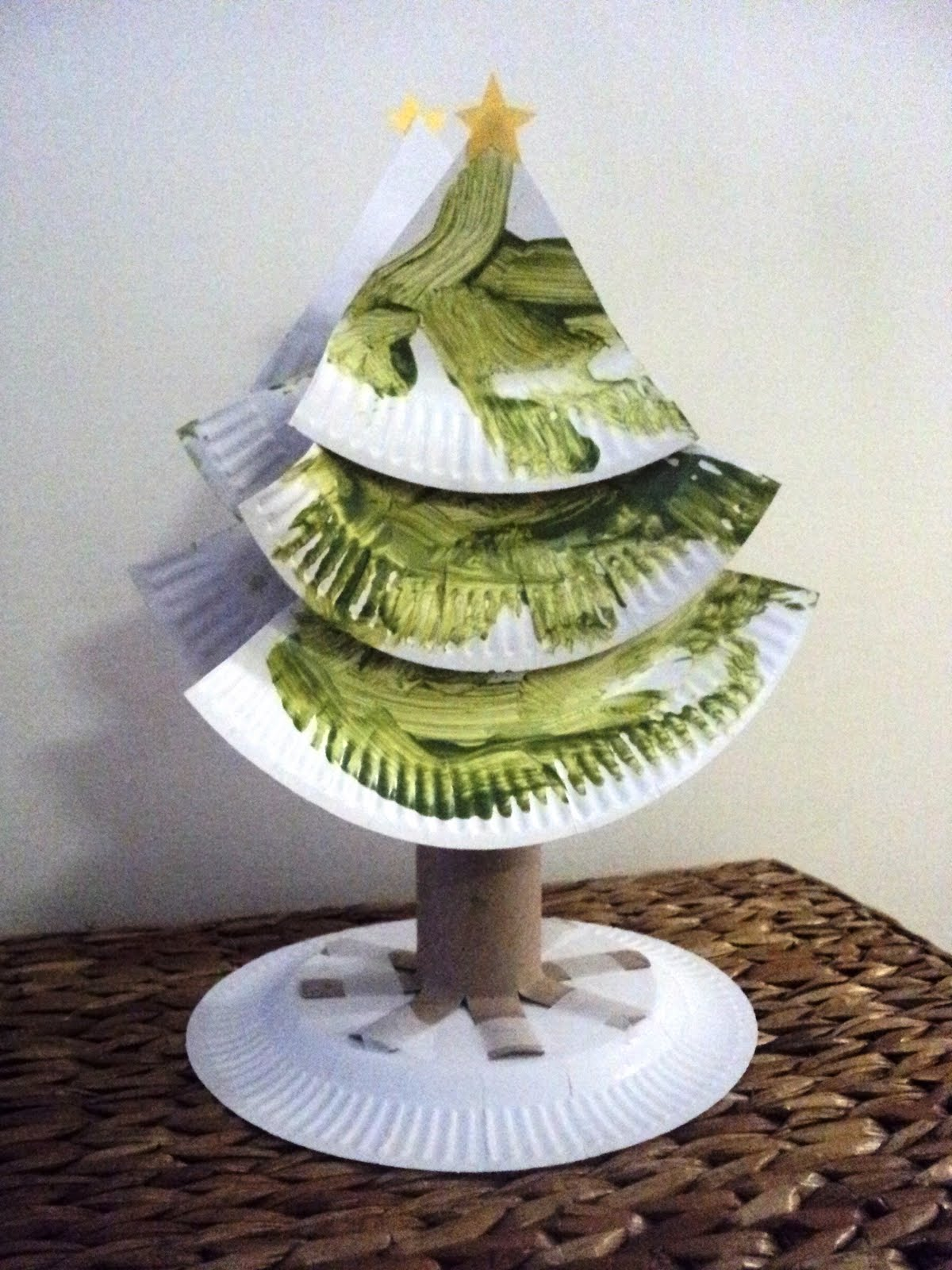 A little learning for two paper plate christmas trees for Christmas crafts made out of paper plates