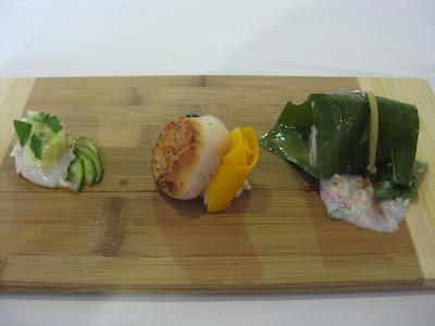 Main~ Butter poached lobster, fondant potato, basil pesto, tempura ...