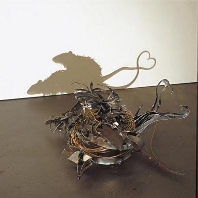 ratas Arte con las sombras de basura