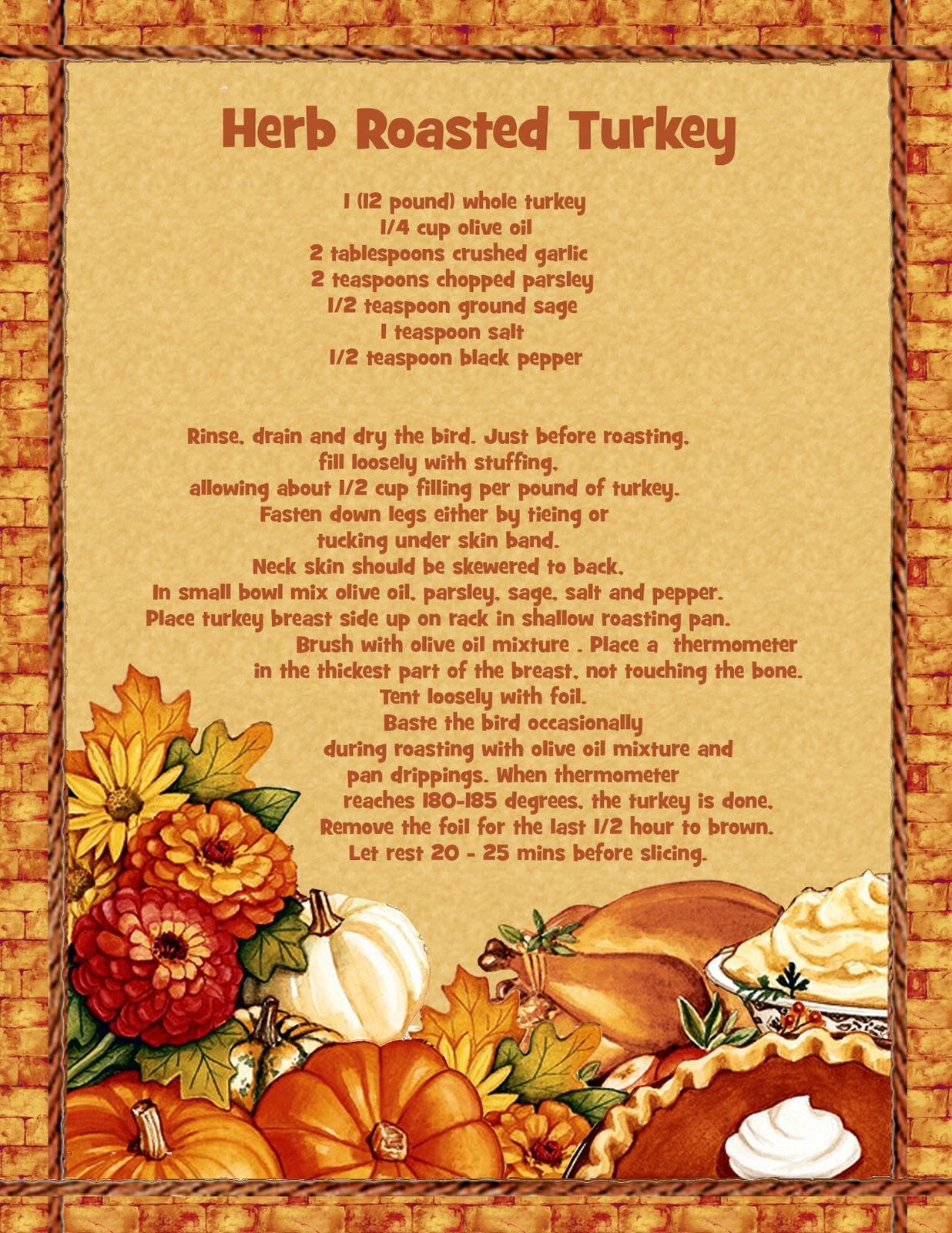 Grammas cookbook: Herb RoastedTurkey