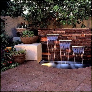 Modern Water Features And Lighting On Patio