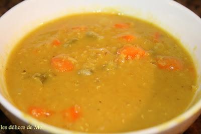 Les d lices de mel potage au cumin et aux lentilles rouges - Cuisiner lentilles seches ...