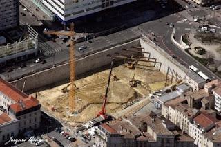 Vue aérienne construction immeuble de l'ilot Bonnac à Bordeaux