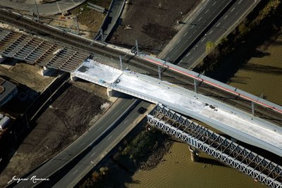 Photo aérienne du pont SNCF de Bordeaux Rive Gauche