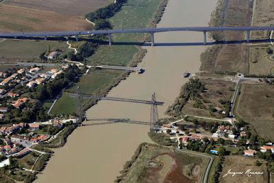 Vue aérienne du dernier pont Transbordeur en France